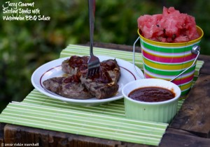 Grilled Steaks with Watermelon BBQ Sauce