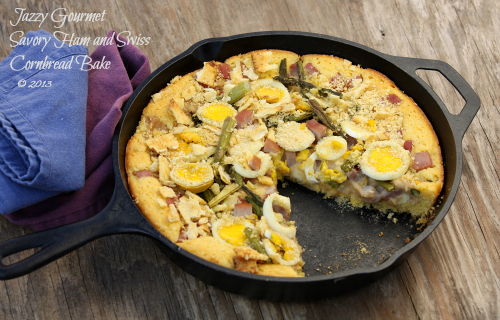 Savory Ham and Swiss Cornbread Bake by Jazzy Gourmet