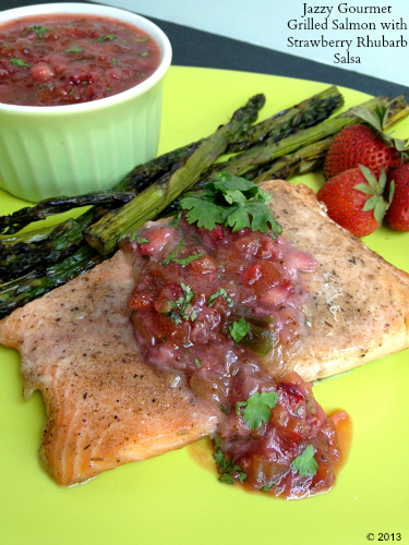 Grilled Salmon with Strawberry Rhubarb Salsa by Jazzy Gourmet
