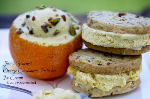 Orange Cardamom Pistachio Ice Cream (Sandwiches)